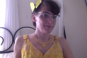 Marie with yellow butterfly in hair