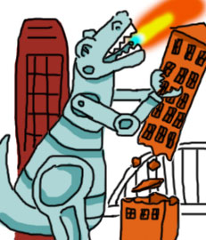 Cartoon robot dinosaur destroys buildings